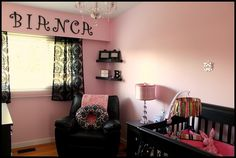 A #pink #nursery looks likely with black and white #damask! #black