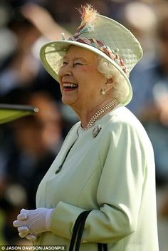 Queen Elizabeth II at the Guards Polo Club in Windsor watching granddaughter Lady Louise Windsor compete in carriage driving. June 25 2017.