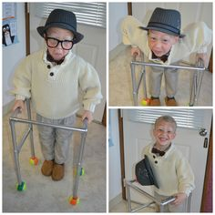 100 days of school celebration! Dress up like 100 year olds. We made his walker out of pvc pipe and spray painted it metallic. Added tennis balls from dollar tree.