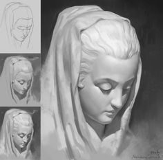Digital Painting Tutorials, Digital Art Tutorial, Art Tutorials, Digital Paintings, Painting Process, Process Art, Art Sketches, Art Drawings, Drawing Faces
