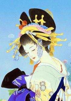 Japanese art by Haruyo Morita Japanese Drawings, Japanese Artwork, Japanese Painting, Japanese Prints, Japanese Kimono, Art Chinois, Geisha Art, Art Asiatique, Japan Art