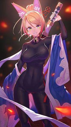 Girls with swords & Manga Anime Neko, Comic Anime, Manga Kawaii, Chica Anime Manga, Kawaii Anime Girl, Anime Comics, Manga Girl, Fantasy Anime, Fantasy Girl