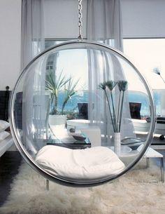 Eero Aarnio Bubble Chair With White Seat Cushion | $699 | http://FuturisticSHOP.com/retro-futuristic-furniture-eero-aarnio-bubble-chair-with-white-seat-cushion/