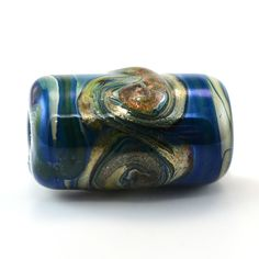 Blue and Goldstone Swirl Large Hole Handmade Glass Lampwork Bead by GlassyFields on Etsy