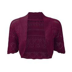 Ladies Knitted Bolero Crochet Cardigan Shrug: Amazon.ca: Clothing &... ($1.01) ❤ liked on Polyvore featuring shrug cardigan, purple shrug, cardigan shrug and crochet shrug