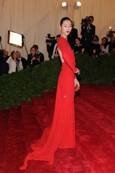 great red dress from the met gala