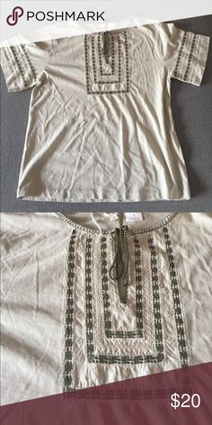 J. Crew peasant top 100% cotton. One of a kind bought at sample sale. Tassels with embroidered detailing J. Crew Tops Tees - Short Sleeve