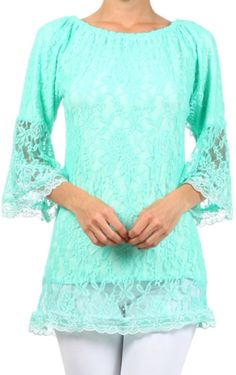 Facebook.com/Lety.Rangel mint lace tunic top