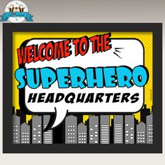 Printable Superhero Party Welcome Sign - Super Hero Personalized printables will save you time and money while making your planning a snap! Superhero School, Superhero Signs, Superhero Teacher, Superhero Classroom Theme, Superhero Birthday Party, Classroom Themes, 4th Birthday, Superhero Ideas, Superhero Halloween