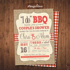 I do BBQ. COUPLE'S SHOWER, double sided Invitation. Digital Printable Card