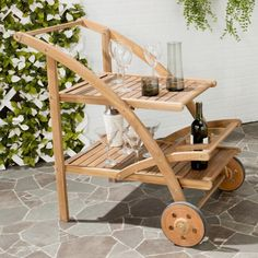 An alfresco entertaining essential, our tea cart features shelf space for wine bottles, glasses and more. Outdoor Serving Cart, Outdoor Bar Cart, Outdoor Patio Bar Sets, Outdoor Decor, Tea Trolley, Drinks Trolley, Tea Cart, Front Porch Furniture, Summer Front Porches