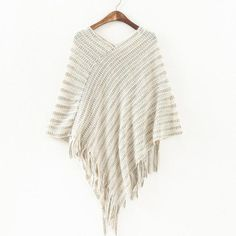 Women's Beige Asymmetrical Hem Knit Sweater Poncho Top with Fringe Detail