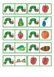 English worksheet: The very hungry caterpillar domino