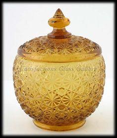 Daisy & Button Amber Glass Jar L.E.Smith