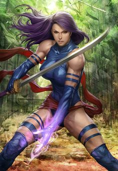 "X-men's Psylocke by Comic Artist Stanley ""Artgerm"" Lau #Comics #Illustration #Drawing"