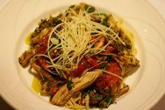 Smoked Chicken Pesto-    Smoked chicken breast, pistachio  basil pesto, roasted roma tomatoes,  arugula & angel hair pasta
