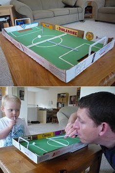 "Awesome Things You Can Make With a Stupid Pizza Box"" ; I love the soccer game and the solar oven ideas! crafts kids projects reuse 15 Awesome Things You Can Make With A Stupid Pizza Box Spring Crafts For Kids, Projects For Kids, Diy For Kids, School Projects, Pizza Box Crafts, Games For Kids, Activities For Kids, Table Football, Recycled Crafts Kids"