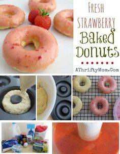 Fresh Strawberry Baked Donuts, Healthier options to comfort foods we all love, Dessert, Recipes, Valentines Day Dessert Ideas