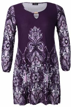 Yoursclothing Womens Plus Size Floral Border Print Jersey Tunic With Long Sleeve