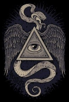 Occult - triangle, snake, eye, wings
