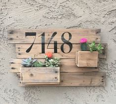 Custom Wooden Address Planter