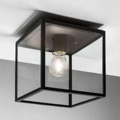 Zewnętrzna LAMPA sufitowa BOX 7389 Astro szklana OPRAWA kwadratowa IP23 outdoor klatka przezroczysta czarna