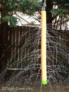 Pool noodle, hose & plastic cap on bottom....voila..instant kiddie yard sprinkler!
