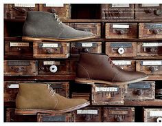 chukka boots and antique card catalog