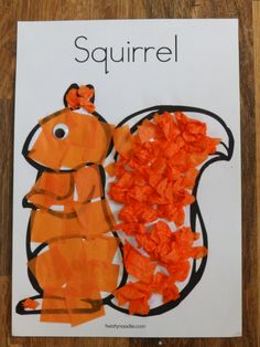 E and I have been trying out some squirrel crafts for next term as we have a large amount of orange tissue paper remaining from the fox paper plate craft. &nb