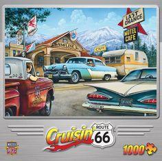 """Piece Count 1000 Pieces Artist Dan Hatala Puzzle Size 19.25"""" x 26.75"""" (49 x 68 cm) Age 13+ Theme Muscle Cars / Classic Automobies Manufacturer Masterpieces UPC 705988717345"""
