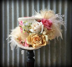 Mini Top Hat Ivory and pink Flower Hat Alice in Wonderland