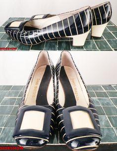 VTG 70's Joseph Magnin / Dan Berk Navy Blue & Cream Pinstripe PUMPS // Career Women High Heels // Size 7, $34.00