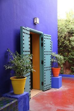 Yves Saint Laurent's Majorelle garden entrance in Marrakesh, Morocco |