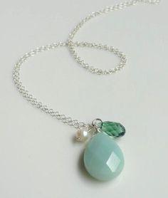 pretty...aqua amazonite, erinite Swarovski crystal and pearl cluster charm necklace silver...I love amazonite!