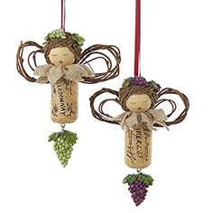 Kurt Adler 1 Set 2 Assorted Angel Wine Cork Merlot And Chardonnay Ornaments More
