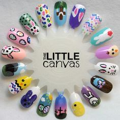 The Little Canvas: The One With the Easter Nail Art Wheel (easter nails) Easter Nail Designs, Easter Nail Art, Nail Art Designs, Holiday Nail Art, Halloween Nail Art, Christmas Nail Art, Cute Nails, My Nails, Oval Nails
