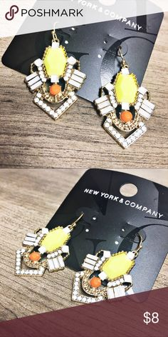 """NWT NY&Co Art Deco Inspired Earrings These beauties are new with tags and gorgeous. They hang from gold hooks and are approx 1-1/2"""" long from the top of the hook. Questions? Please ask! Sorry, no trades. Bundle for a discount. New York & Company Jewelry Earrings"""