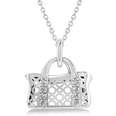 Allurez Purse Pendant Necklace with Diamond Accents 14k White Gold... ($760) ❤ liked on Polyvore featuring jewelry, necklaces, white, diamond accent heart pendant, white gold chain necklace, 14k white gold necklace, 14 karat gold necklace and necklaces & pendants