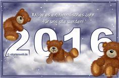 Möge es ein himmlisches Jahr für uns alle werden! Animierte Grußkarte mit Djabbi Teddys auf Wolken Neujahr 2016