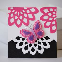 NL Flower Border Punch Butterfly Puffies Card