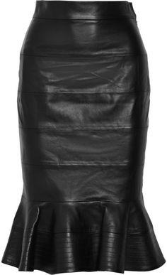 OSCAR DE LA RENTA Fluted Leather skirt