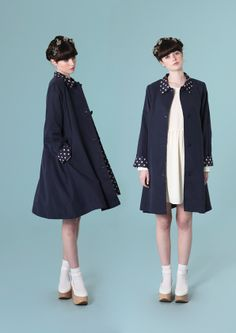 Polka Detail Swing Coat Navy - http://www.thewhitepepper.com/collections/coats-jackets/products/polka-detail-swing-coat-navy