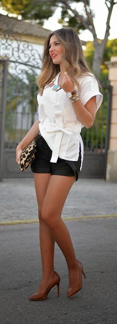 Black Shorts with Top Kimono and Brown Pumps.