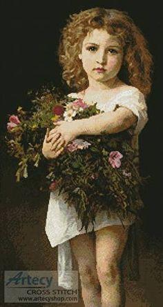 cross stitch pattern Girl Holding Flowers