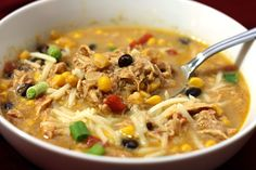 Crockpot chicken enchilada soup. 3 tbsp. butter 3 tbsp. flour 1/2 cup chicken broth 2 cups milk (I used 2%) 1 can (10 oz) of enchilada sauce 1 can (15 oz) black beans, rinsed and drained 1 can (14.5 oz) Rotel diced tomatoes and green chilies 1 package (10 oz) frozen corn 1 medium onion, diced 1 green pepper, diced 8 chicken tenderloins or 2 whole chicken breasts (something instead of chicken)