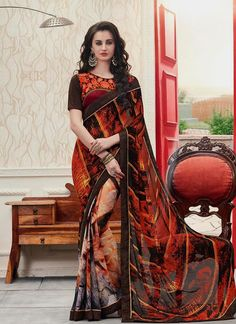 Online shopping store for women clothing like designer sarees. Shop this compelling georgette multi colour printed saree.