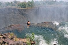 The Devil's Pool. The world's largest waterfall called Victoria Falls is 108 meters (354 ft) high and presume border between Zimbabwe and Zambia. At the top of it there is a natural rock pool, where you can swim from September to December. At the edge of the pool there is a rock wall, but jumping in is an extraordinary experience for first-time visitors, who can't see the protective wall.
