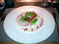 Duo of the salmon trout and king prawns with pomegranade risotto and beans @ Restaurant Blu Mediteraneo