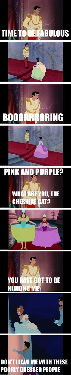 Cinderella is actually the story of one man on a mission to find a fashionably dressed woman.<-- laughed so hard!