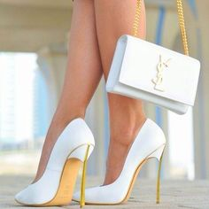 Casadei White Pumps and YSL Bag. That´s High Fashion Summer Style!